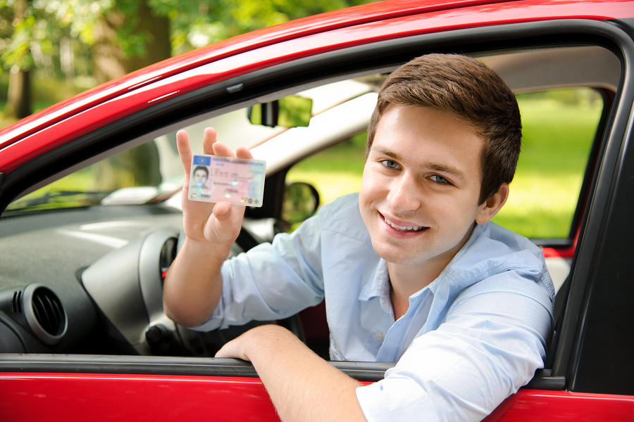 teenage boy passed driving test